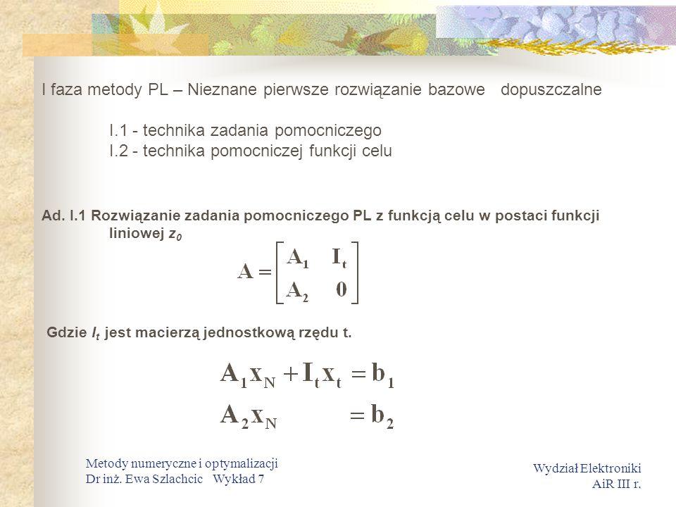 I faza metody PL – Nieznane pierwsze rozwiązanie bazowe dopuszczalne I.1 - technika zadania pomocniczego I.2 - technika pomocniczej funkcji celu
