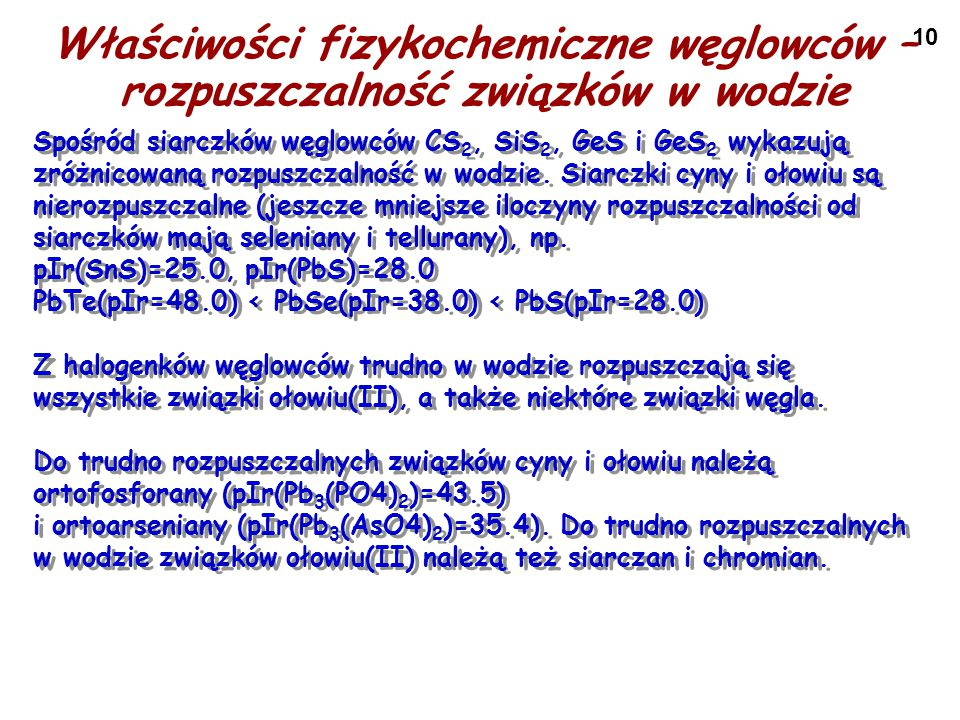 Właściwości fizykochemiczne węglowców – rozpuszczalność związków w wodzie
