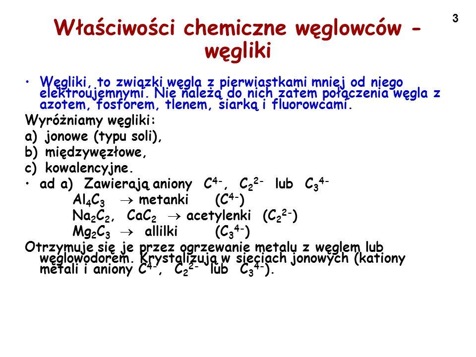 Właściwości chemiczne węglowców - węgliki