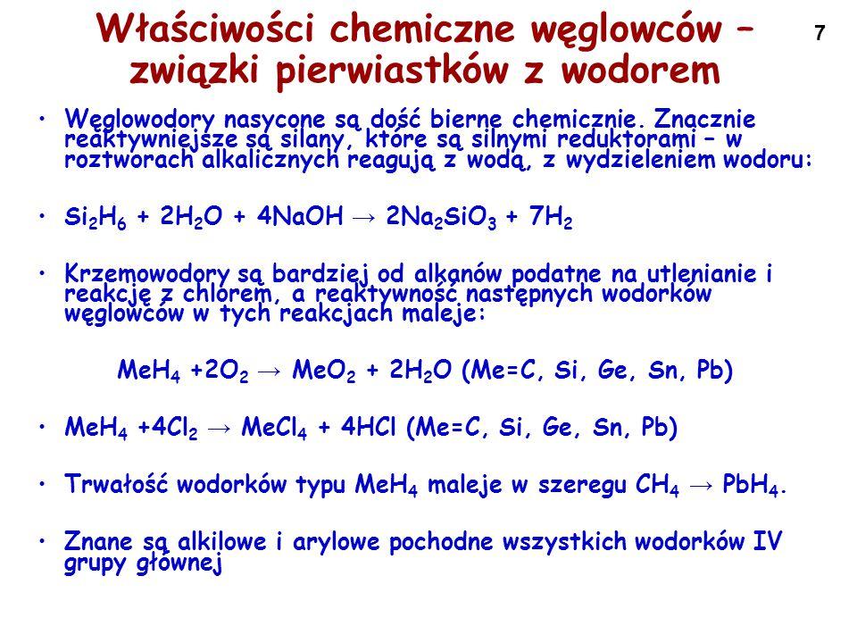 Właściwości chemiczne węglowców – związki pierwiastków z wodorem