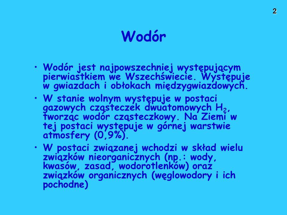 Wodór Wodór jest najpowszechniej występującym pierwiastkiem we Wszechświecie. Występuje w gwiazdach i obłokach międzygwiazdowych.