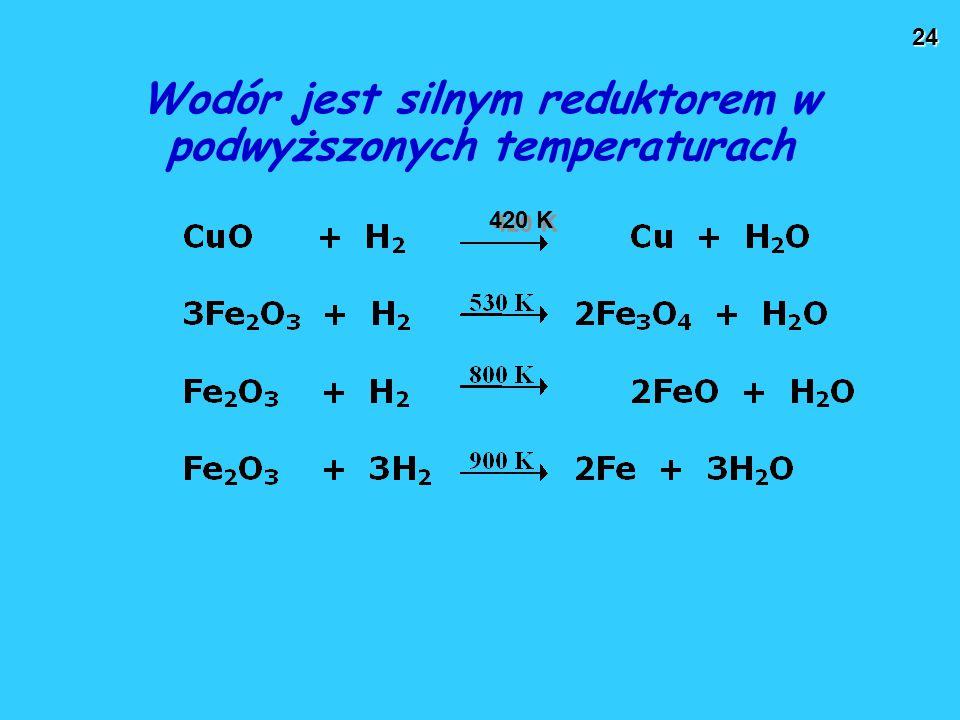 Wodór jest silnym reduktorem w podwyższonych temperaturach