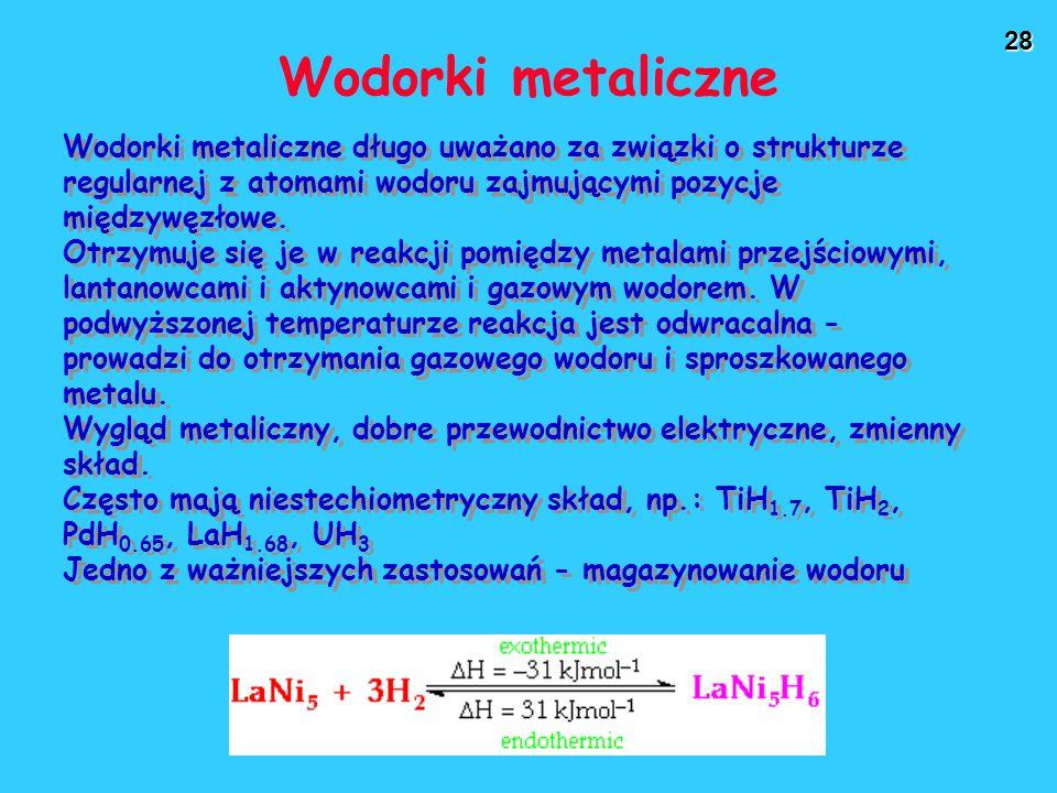 Wodorki metaliczne Wodorki metaliczne długo uważano za związki o strukturze regularnej z atomami wodoru zajmującymi pozycje międzywęzłowe.