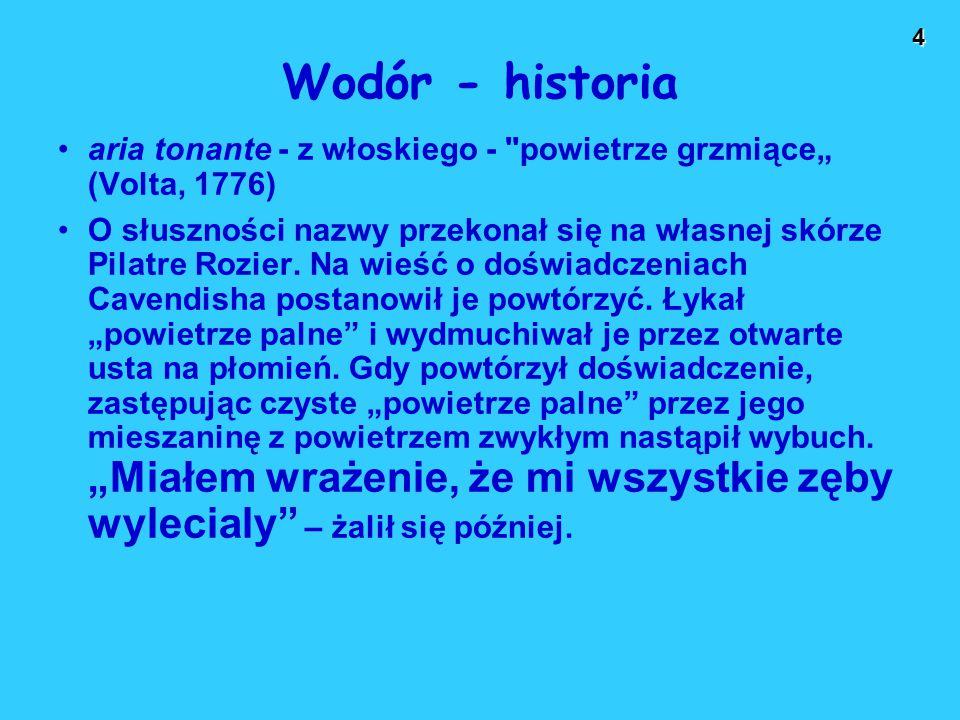 """Wodór - historia aria tonante - z włoskiego - powietrze grzmiące"""" (Volta, 1776)"""