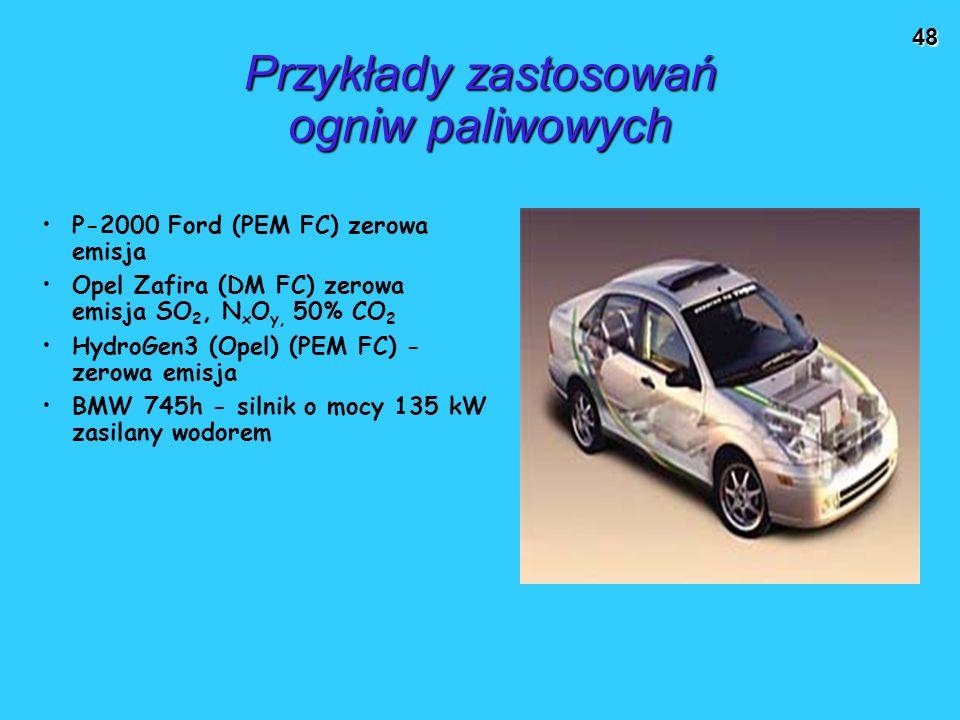 Przykłady zastosowań ogniw paliwowych