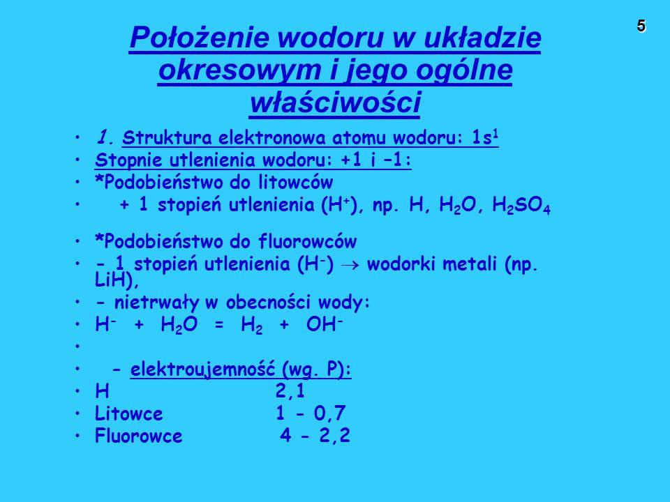 Położenie wodoru w układzie okresowym i jego ogólne właściwości
