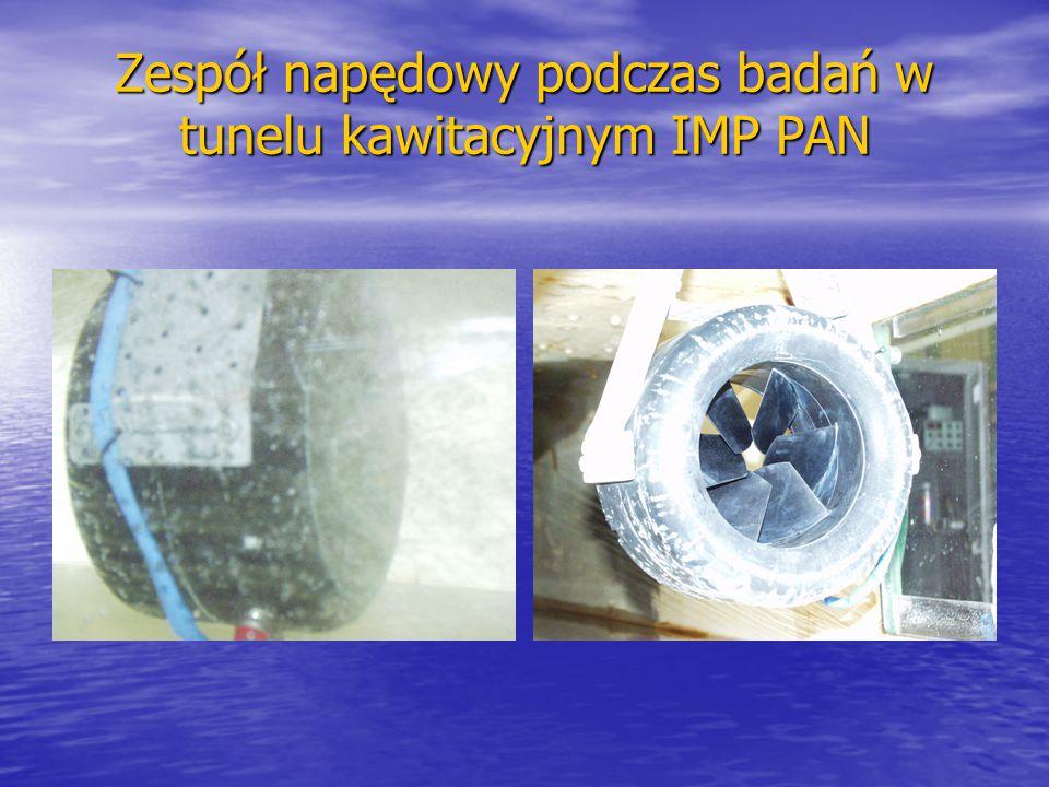 Zespół napędowy podczas badań w tunelu kawitacyjnym IMP PAN