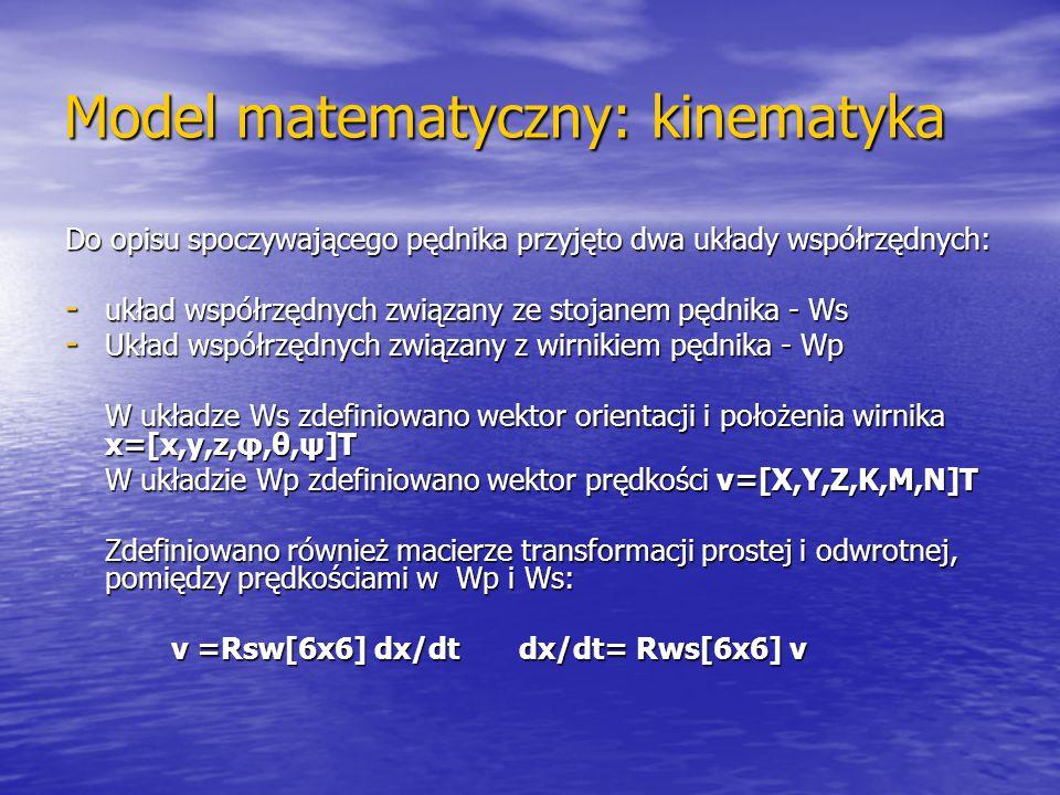 Model matematyczny: kinematyka