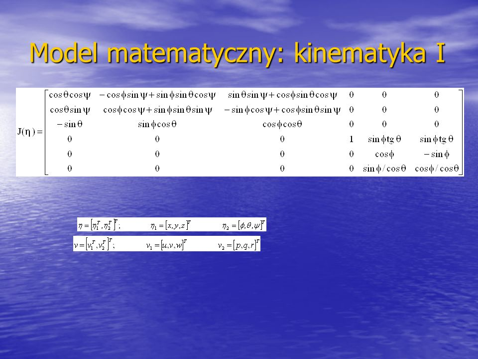 Model matematyczny: kinematyka I