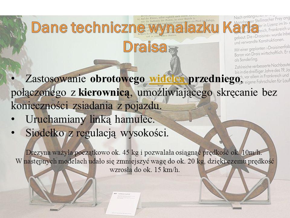 Dane techniczne wynalazku Karla Draisa