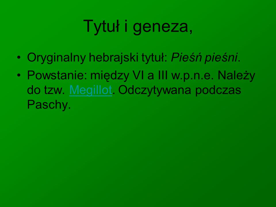 Tytuł i geneza, Oryginalny hebrajski tytuł: Pieśń pieśni.