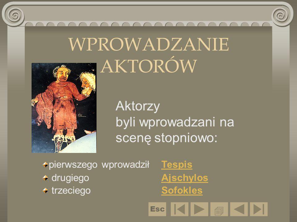 WPROWADZANIE AKTORÓW  pierwszego wprowadził Tespis drugiego Ajschylos