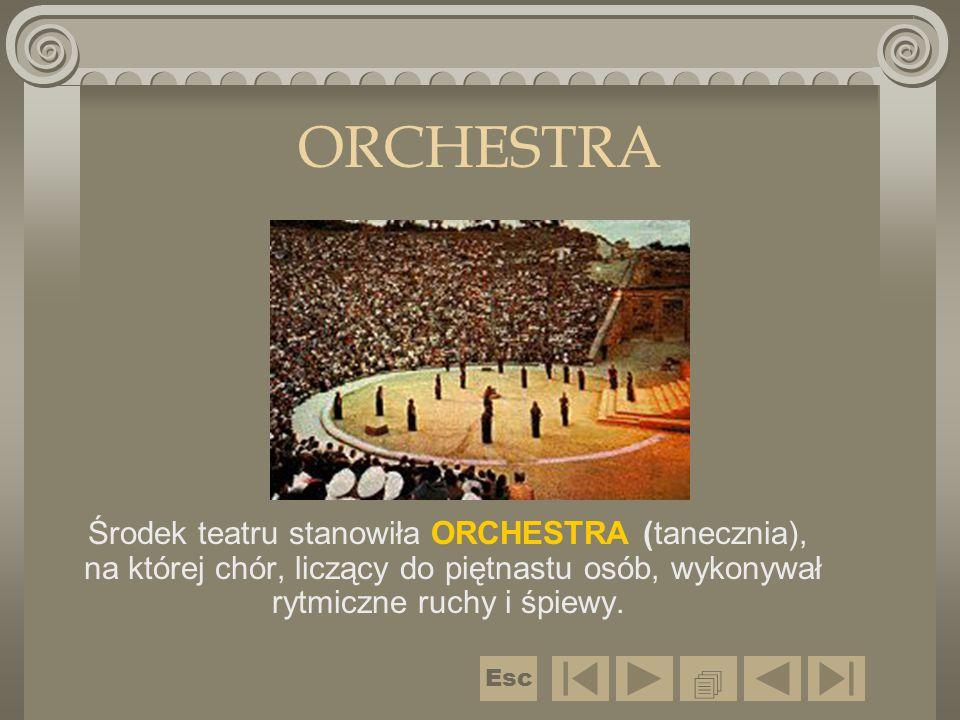 ORCHESTRA Środek teatru stanowiła ORCHESTRA (tanecznia), na której chór, liczący do piętnastu osób, wykonywał rytmiczne ruchy i śpiewy.