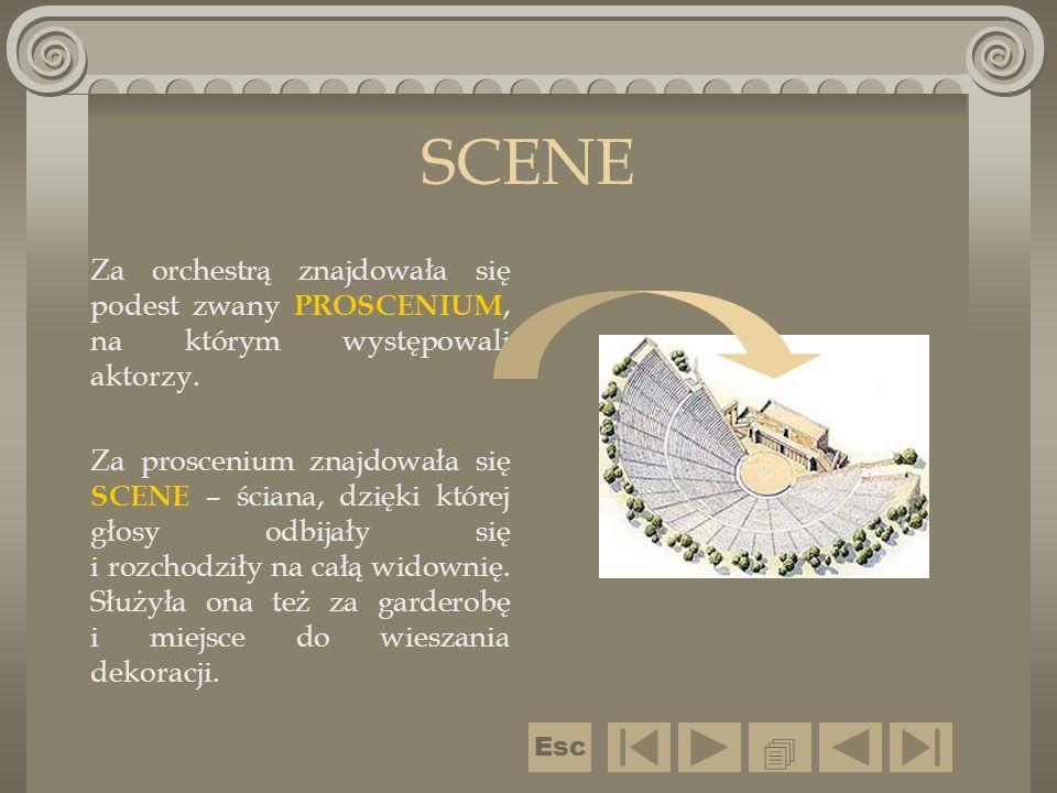 SCENE Za orchestrą znajdowała się podest zwany PROSCENIUM, na którym występowali aktorzy.