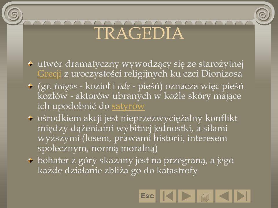 TRAGEDIA utwór dramatyczny wywodzący się ze starożytnej Grecji z uroczystości religijnych ku czci Dionizosa.