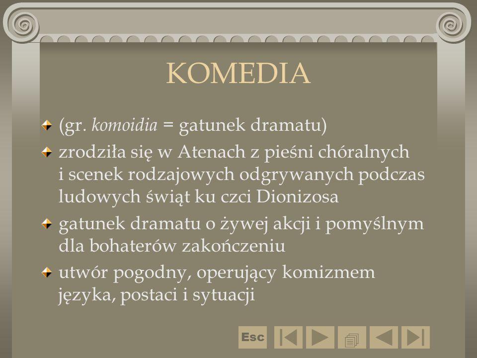 KOMEDIA (gr. komoidia = gatunek dramatu)