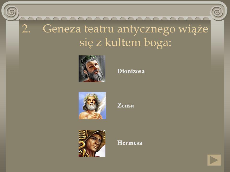 Geneza teatru antycznego wiąże się z kultem boga:
