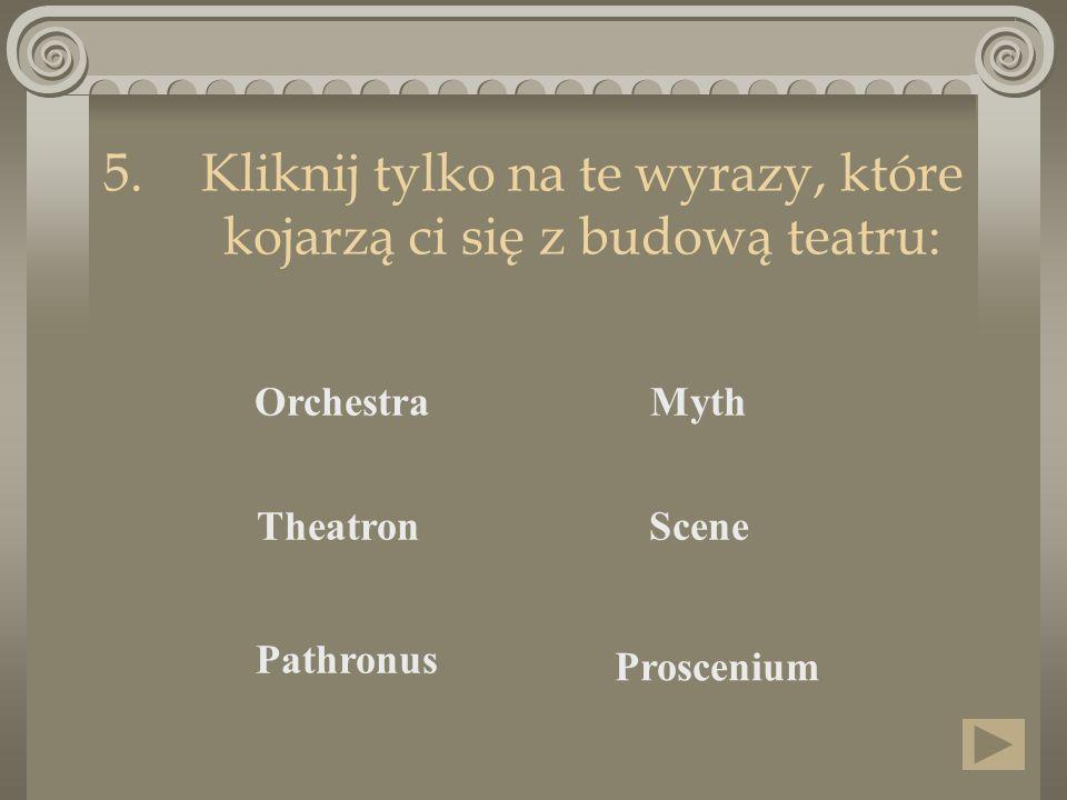 Kliknij tylko na te wyrazy, które kojarzą ci się z budową teatru: