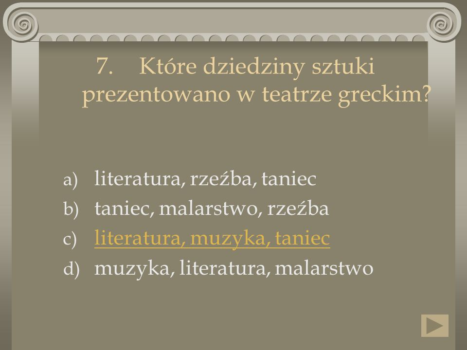 Które dziedziny sztuki prezentowano w teatrze greckim