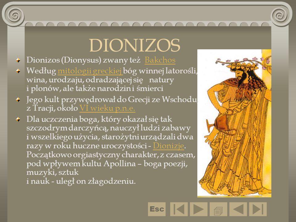 DIONIZOS  Dionizos (Dionysus) zwany też Bakchos