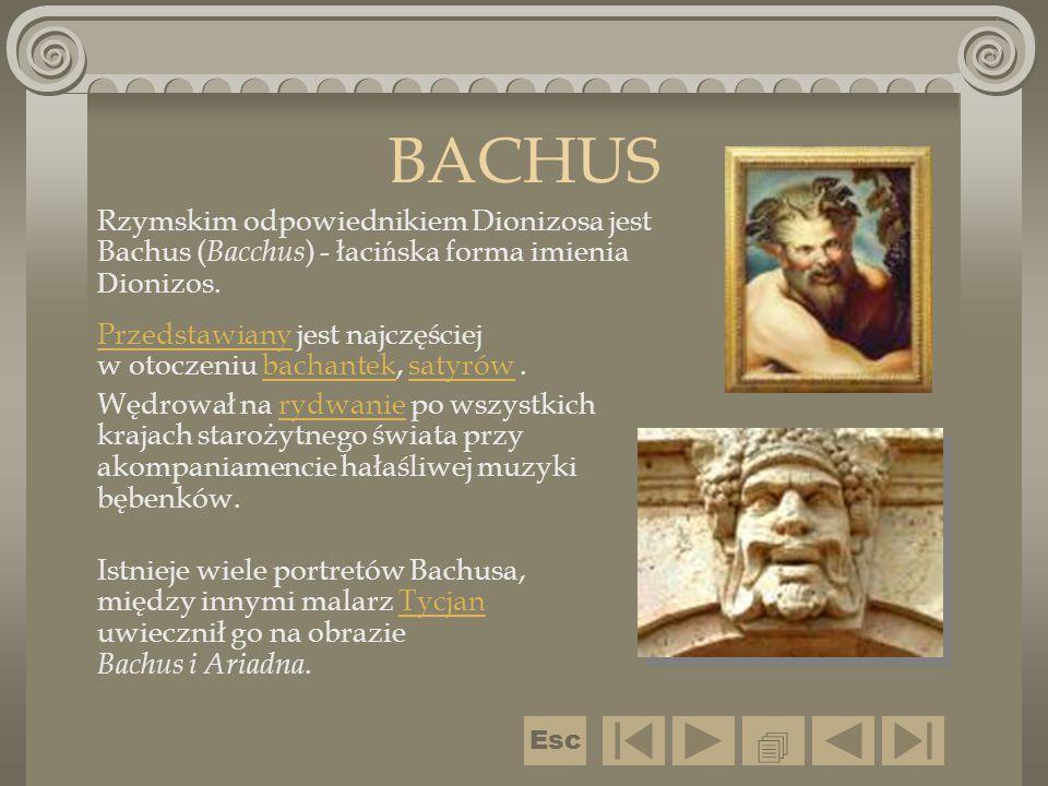 BACHUS Rzymskim odpowiednikiem Dionizosa jest Bachus (Bacchus) - łacińska forma imienia Dionizos.