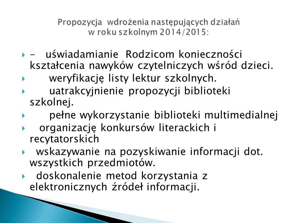 Propozycja wdrożenia następujących działań w roku szkolnym 2014/2015: