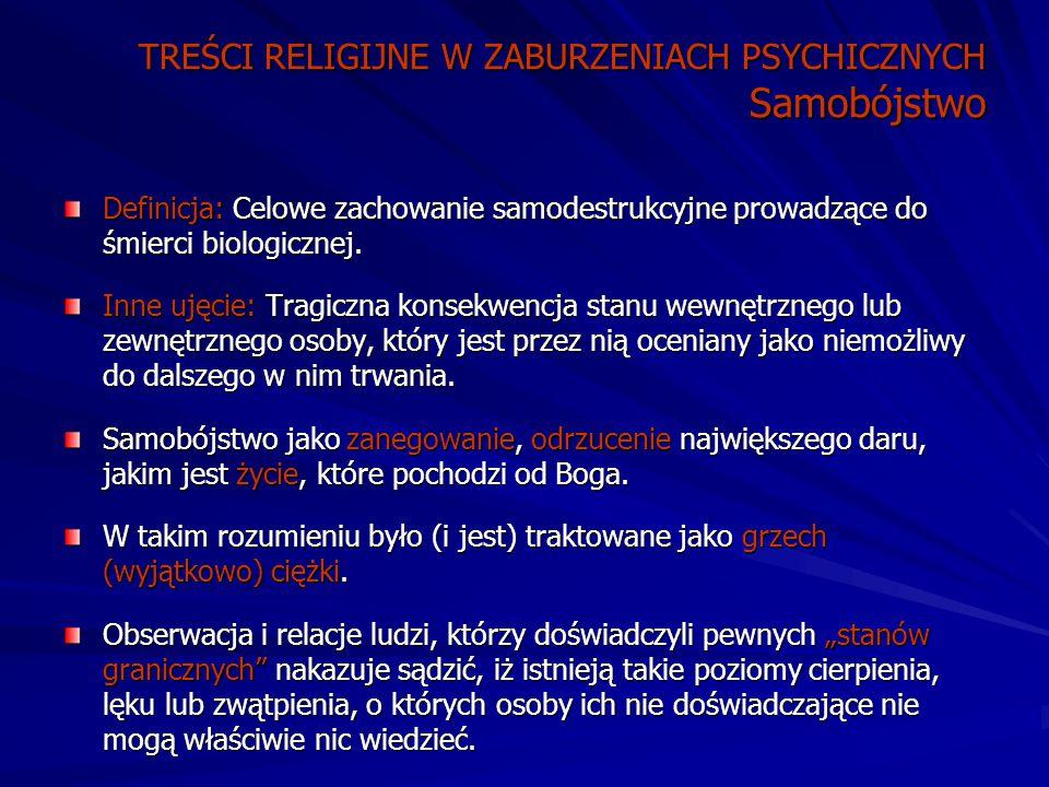 TREŚCI RELIGIJNE W ZABURZENIACH PSYCHICZNYCH Samobójstwo