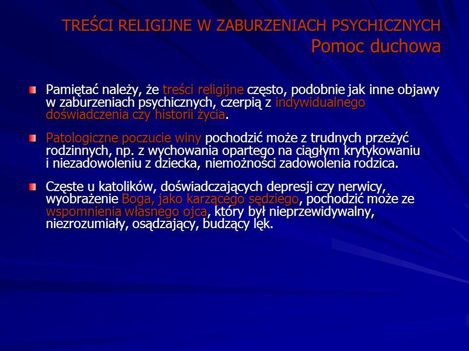 TREŚCI RELIGIJNE W ZABURZENIACH PSYCHICZNYCH Pomoc duchowa