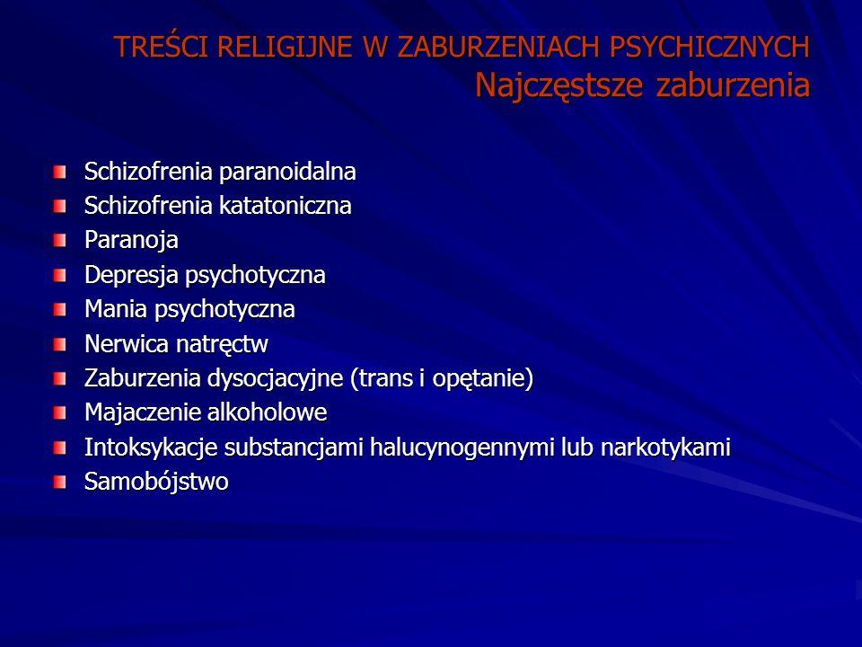 TREŚCI RELIGIJNE W ZABURZENIACH PSYCHICZNYCH Najczęstsze zaburzenia