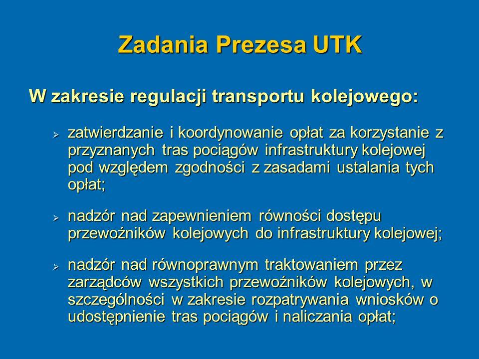 Zadania Prezesa UTK W zakresie regulacji transportu kolejowego: