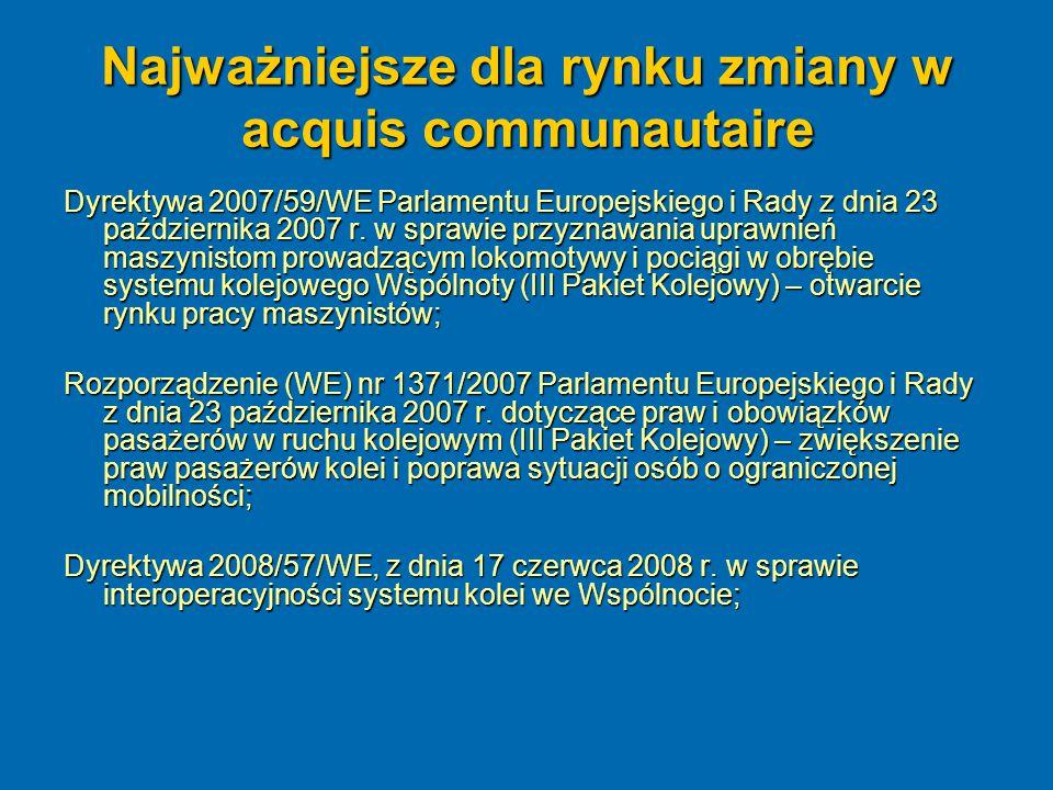 Najważniejsze dla rynku zmiany w acquis communautaire