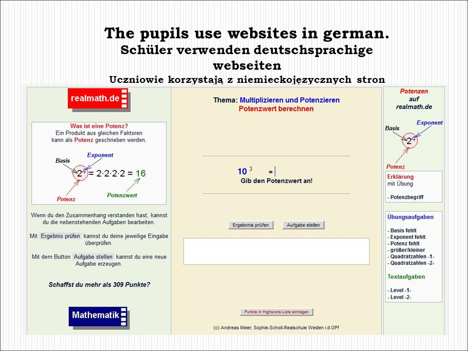 The pupils use websites in german.