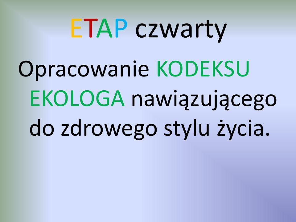 ETAP czwarty Opracowanie KODEKSU EKOLOGA nawiązującego do zdrowego stylu życia.