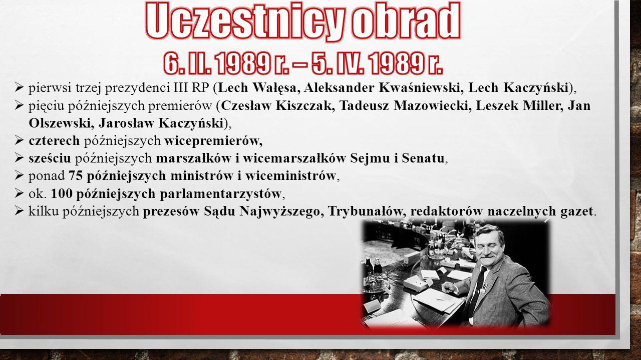 Uczestnicy obrad 6. II. 1989 r. – 5. IV. 1989 r.