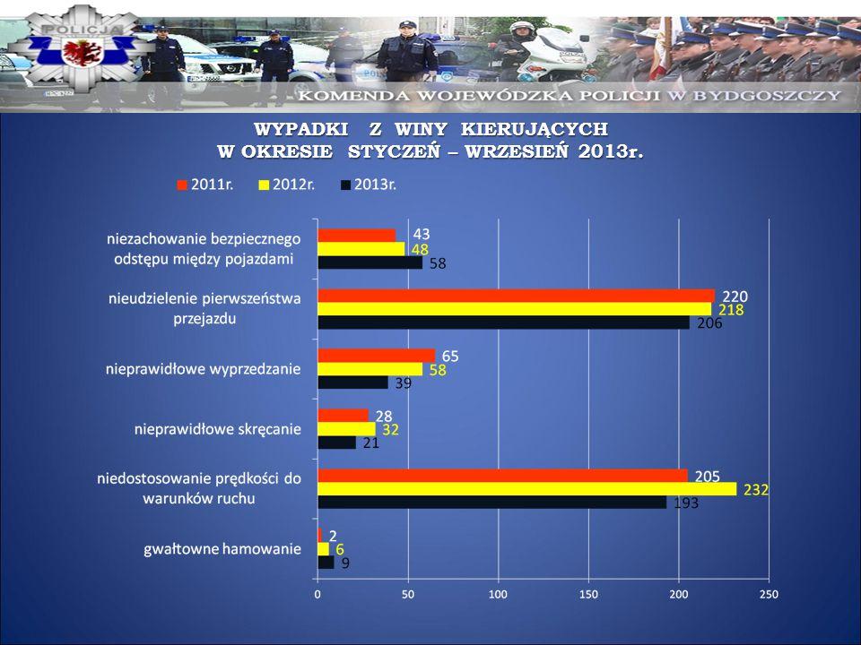 WYPADKI Z WINY KIERUJĄCYCH W OKRESIE STYCZEŃ – WRZESIEŃ 2013r.