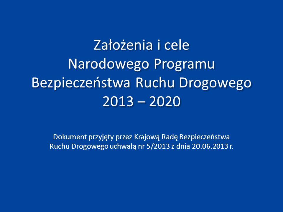 Założenia i cele Narodowego Programu Bezpieczeństwa Ruchu Drogowego 2013 – 2020