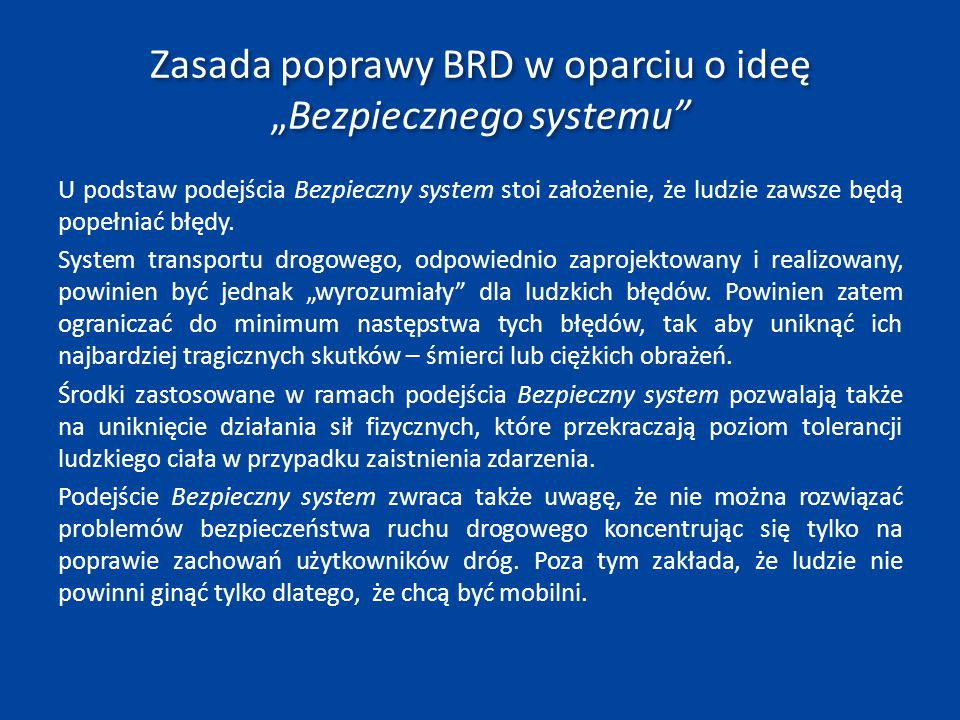 """Zasada poprawy BRD w oparciu o ideę """"Bezpiecznego systemu"""