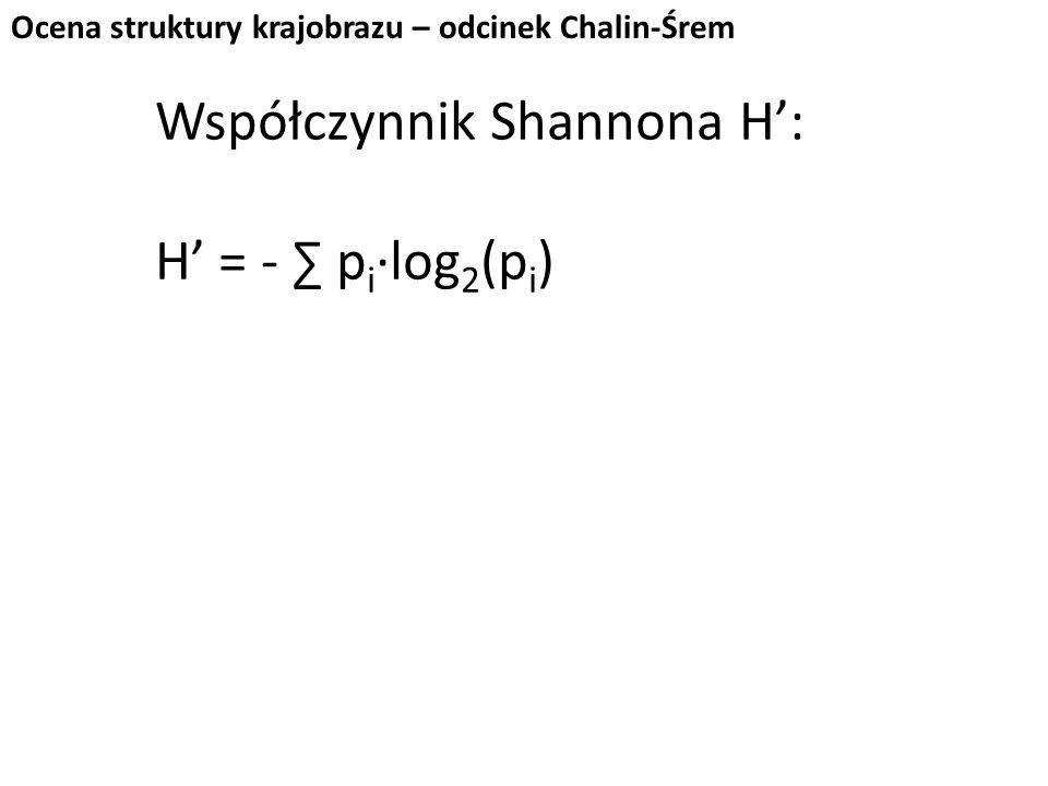 Współczynnik Shannona H': H' = - ∑ pi∙log2(pi)