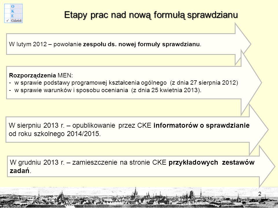 Etapy prac nad nową formułą sprawdzianu