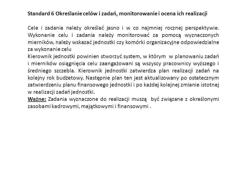 Standard 6 Określanie celów i zadań, monitorowanie i ocena ich realizacji