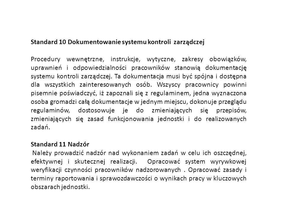 Standard 10 Dokumentowanie systemu kontroli zarządczej