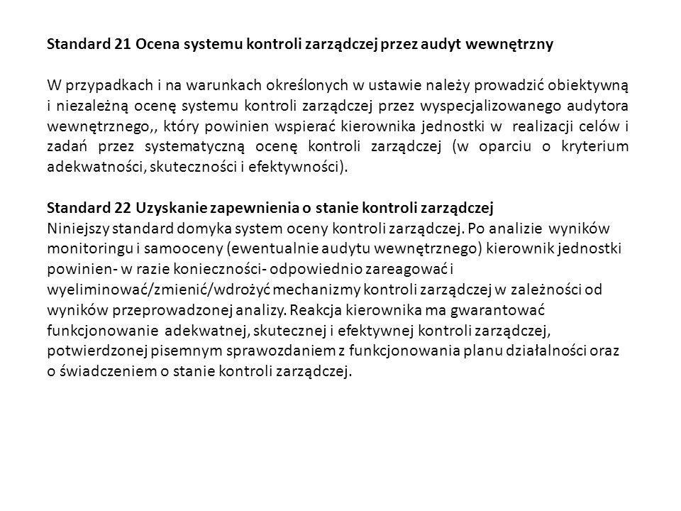 Standard 21 Ocena systemu kontroli zarządczej przez audyt wewnętrzny