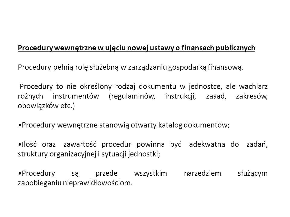 Procedury wewnętrzne w ujęciu nowej ustawy o finansach publicznych