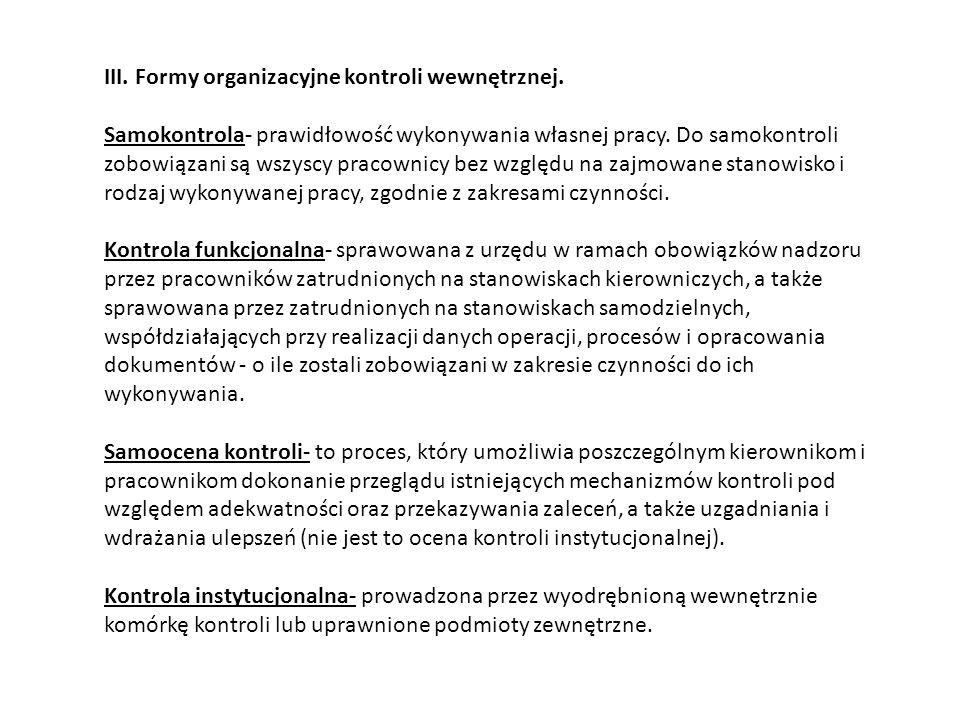 III. Formy organizacyjne kontroli wewnętrznej.