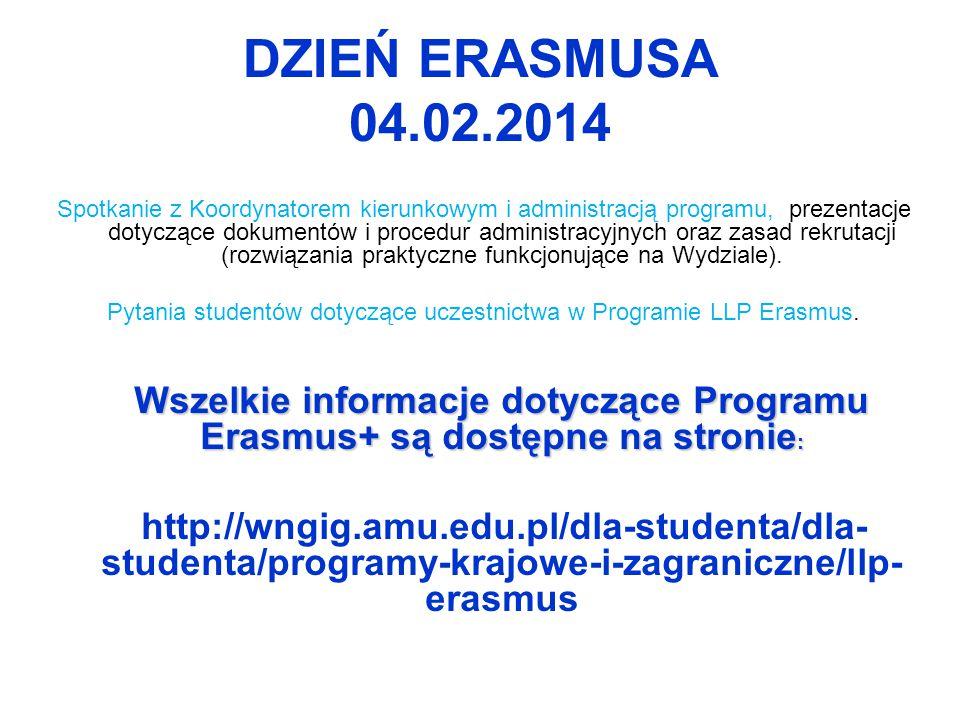 Pytania studentów dotyczące uczestnictwa w Programie LLP Erasmus.