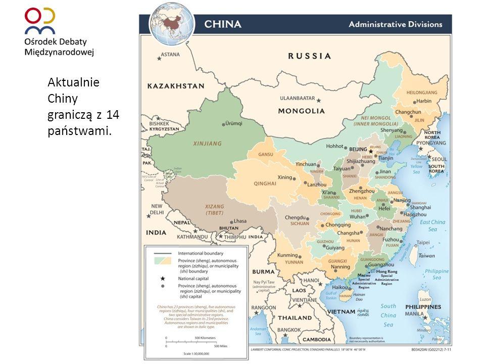 Aktualnie Chiny graniczą z 14 państwami.