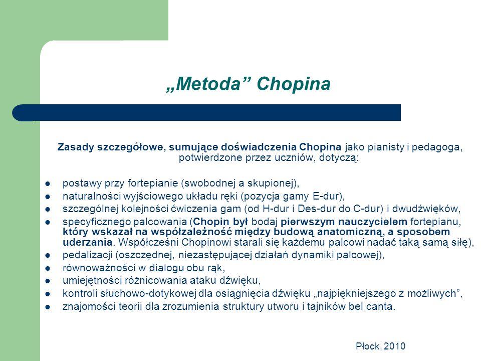 """""""Metoda Chopina Zasady szczegółowe, sumujące doświadczenia Chopina jako pianisty i pedagoga, potwierdzone przez uczniów, dotyczą:"""