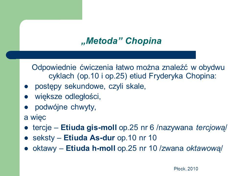 """""""Metoda Chopina Odpowiednie ćwiczenia łatwo można znaleźć w obydwu cyklach (op.10 i op.25) etiud Fryderyka Chopina:"""