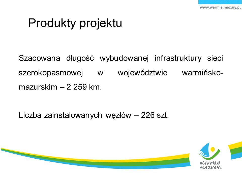 6.04.10 Produkty projektu. Szacowana długość wybudowanej infrastruktury sieci szerokopasmowej w województwie warmińsko-mazurskim – 2 259 km.