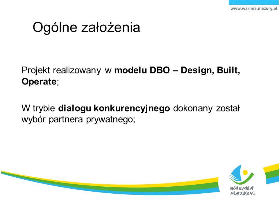 Ogólne założenia Projekt realizowany w modelu DBO – Design, Built, Operate;